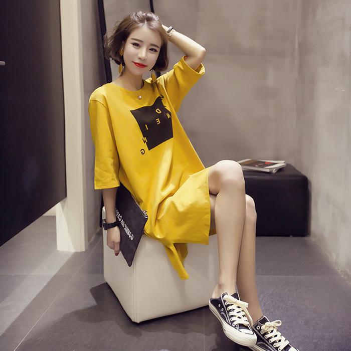 黄色T恤 新款韩版夏季短袖T恤女宽松半袖中长款大码女装学生打底衫上衣裙_推荐淘宝好看的黄色T恤