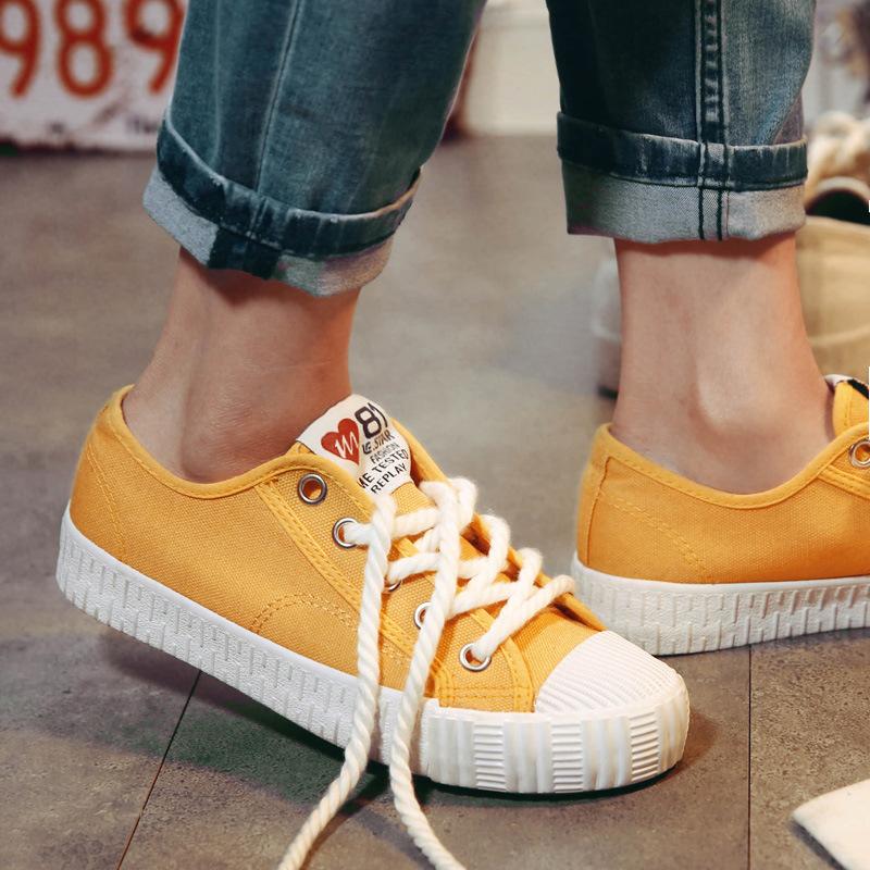 黄色平底鞋 春夏休闲百搭小白鞋女鞋学生平底布鞋黄色板鞋帆布鞋白色系带鞋子_推荐淘宝好看的黄色平底鞋