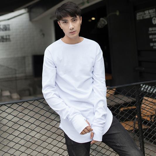 白色T恤 秋新款 美式休闲 男士开叉圆弧下摆打底衫 中长款修身套指长袖T恤_推荐淘宝好看的白色T恤
