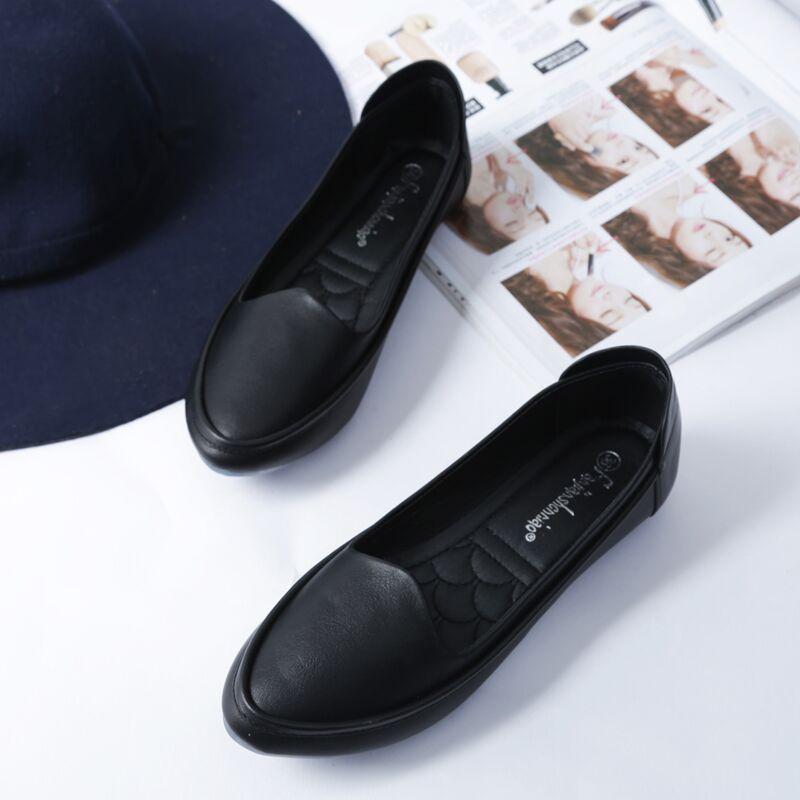 黑色豆豆鞋 秋季黑色软皮单鞋舒适职业平底鞋女软底孕妇豆豆鞋大码女鞋41-43_推荐淘宝好看的黑色豆豆鞋
