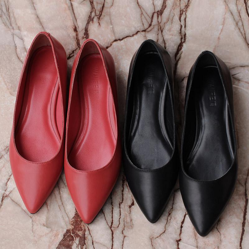红色平底鞋 黑色平底鞋职业尖头单鞋浅口红色皮鞋女四季鞋百搭平跟工作上班鞋_推荐淘宝好看的红色平底鞋