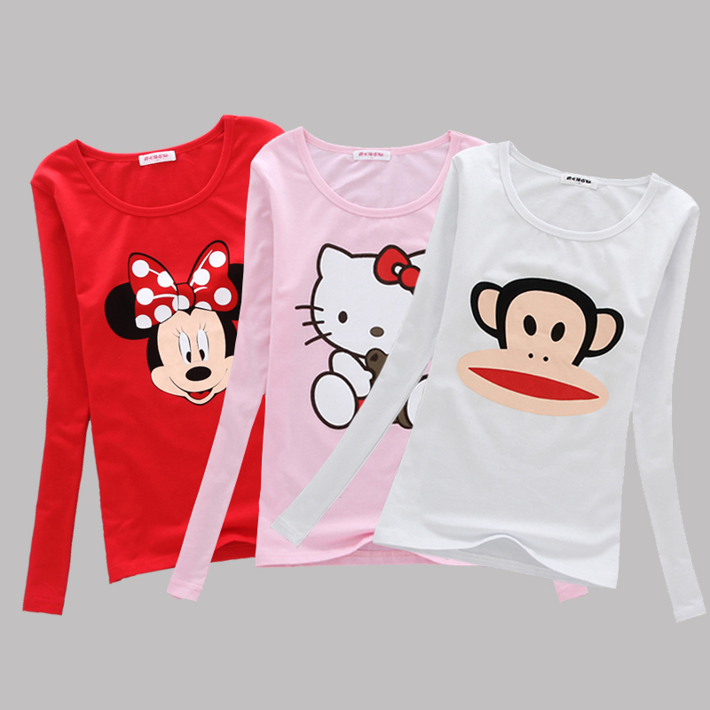 女士大嘴猴t恤 大嘴猴t恤女秋长袖修身学生简约纯棉卡通上衣打底衫_推荐淘宝好看的女大嘴猴t恤