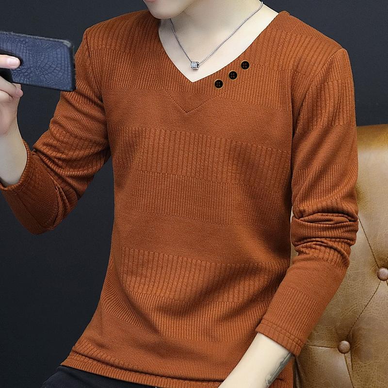 黑色T恤 男士加绒长袖T恤韩版修身V领针织打底衫男装秋冬衣服加厚毛衣潮男_推荐淘宝好看的黑色T恤