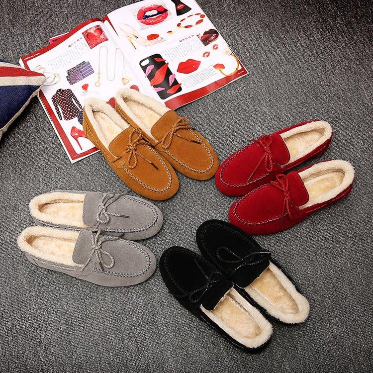 黄色豆豆鞋 冬款女鞋黄色红色加棉豆豆鞋冬天有毛的休闲鞋女雪地保暖学生棉鞋_推荐淘宝好看的黄色豆豆鞋