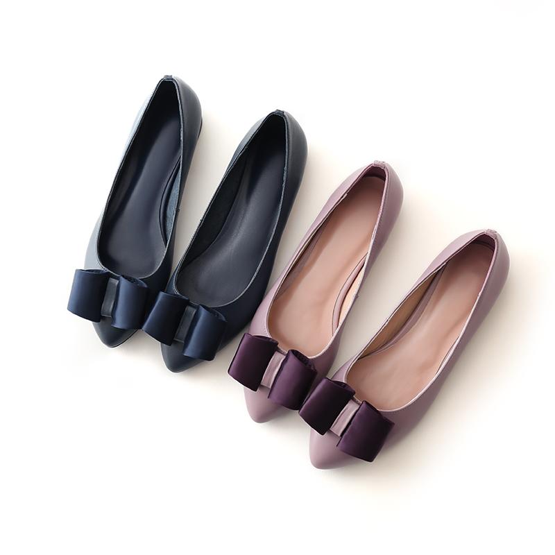 紫色平底鞋 少女风韩国淑女羊皮2017新款潮蓝紫色真皮单鞋女平底百搭尖头平底_推荐淘宝好看的紫色平底鞋