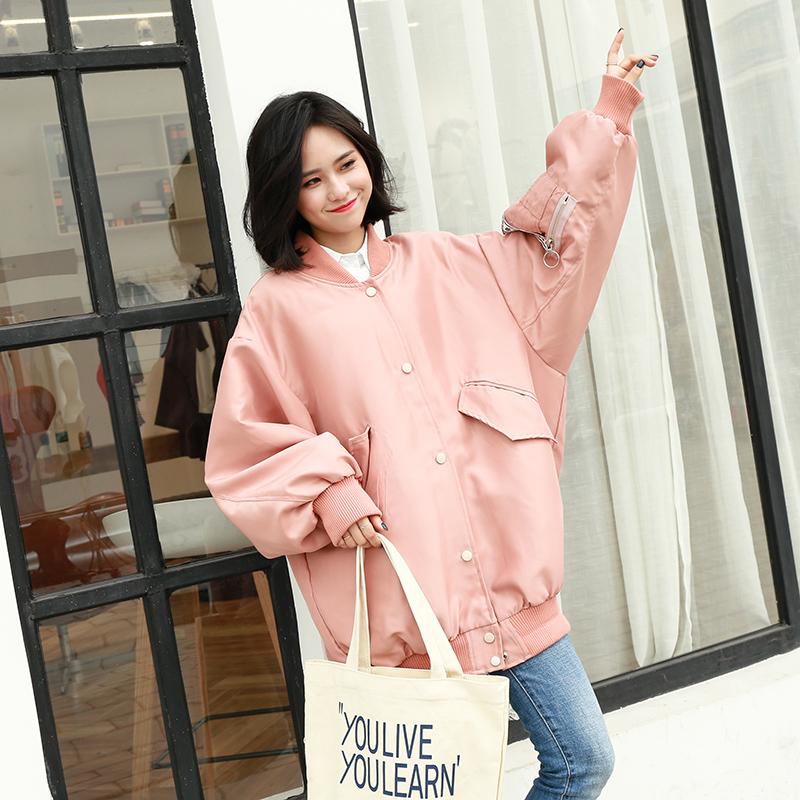 粉红色风衣 韩版2017春装新款贴布风衣女中长款宽松大码bf风棒球服夹克外套_推荐淘宝好看的粉红色风衣