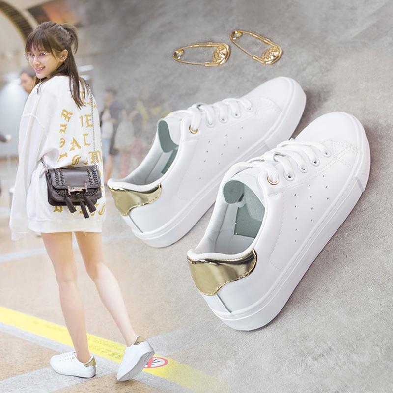 白色平底鞋 2016春季新款白色小白鞋女学生系带运动鞋韩版百搭帆布鞋平底板鞋_推荐淘宝好看的白色平底鞋