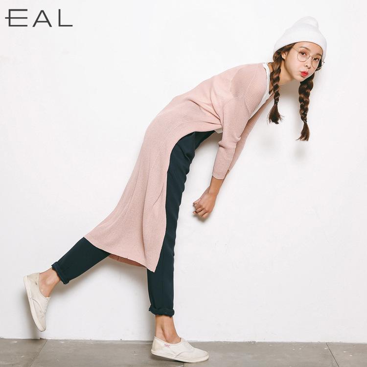 黑色针织衫 EAL羽迹2017春夏女式针织衫直筒长款开衫短袖薄款毛衫L131_推荐淘宝好看的黑色针织衫