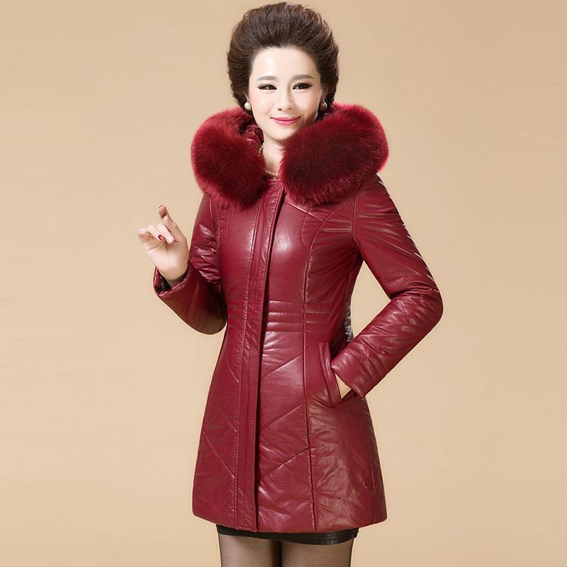 红色皮衣 中老年皮羽绒服女加厚妈妈装皮衣中长款大码毛领皮棉衣外套_推荐淘宝好看的红色皮衣