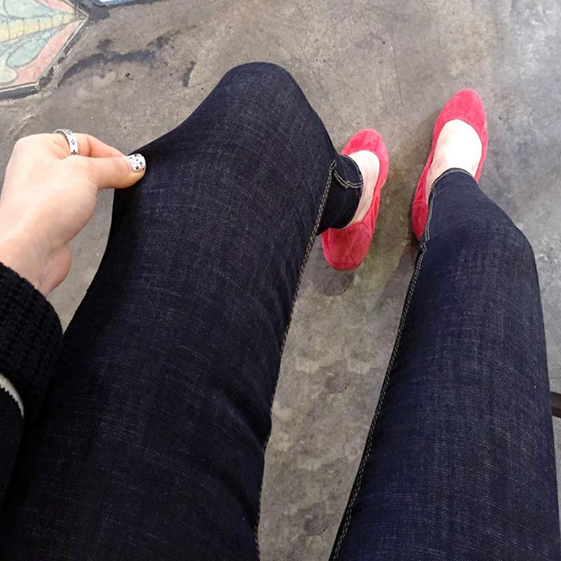 高腰加绒牛仔裤 2016秋冬季新款韩版高腰修身显瘦弹力加绒黑色牛仔裤女长裤小脚裤_推荐淘宝好看的高腰加绒牛仔裤