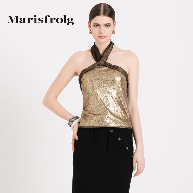 玛丝菲尔女装 Marisfrolg玛丝菲尔女装时尚哑光珠片前交叉式挂脖背心专柜正品_推荐淘宝好看的玛丝菲尔