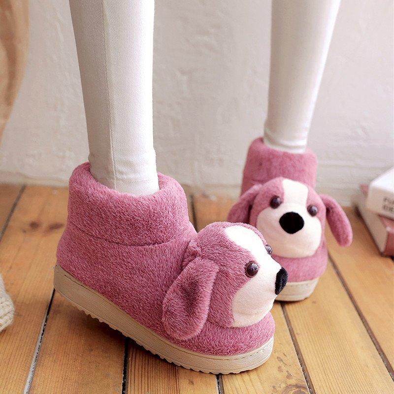 紫色高帮鞋 狗狗居家鞋卡通可爱棉拖鞋高帮包跟拖鞋紫色舒适保暖毛毛拖鞋防滑_推荐淘宝好看的紫色高帮鞋