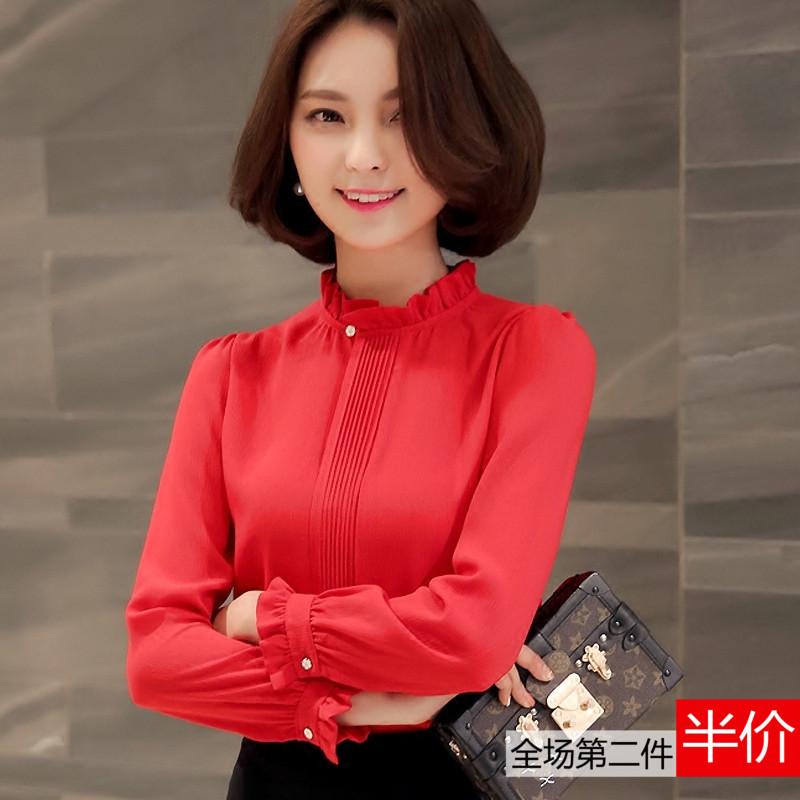 红色雪纺衫 2016秋装新款修身显瘦休闲韩版大码OL红色雪纺衫长袖女上衣打底衫_推荐淘宝好看的红色雪纺衫