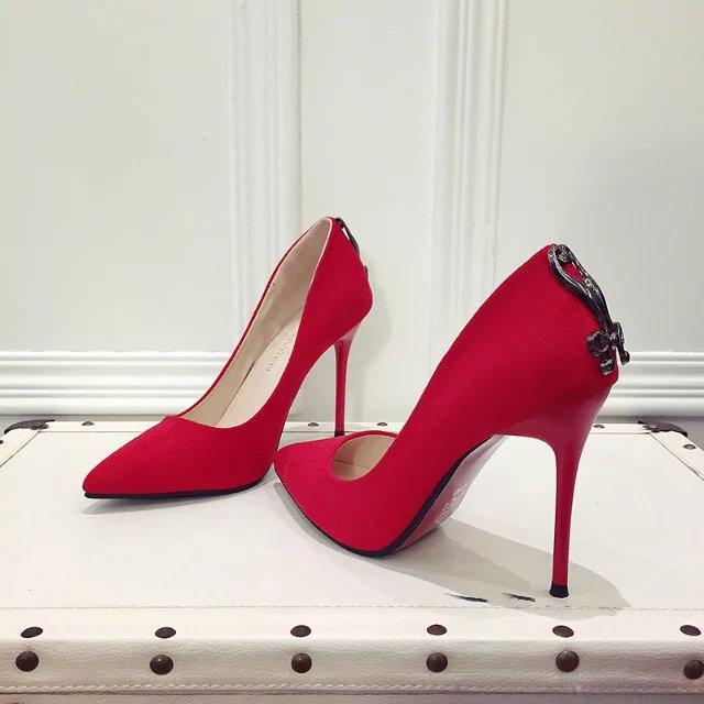 细高跟鞋 2016春秋新款欧美10CM黑色尖头高跟鞋细跟高跟女单鞋红色浅口婚鞋_推荐淘宝好看的女细高跟鞋