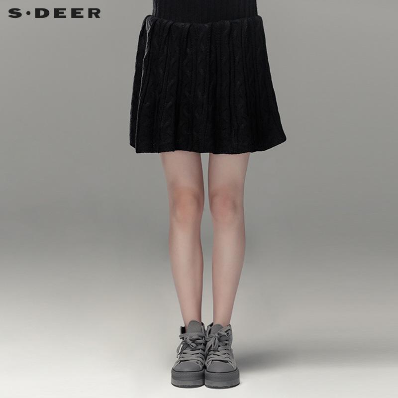 圣迪奥女装 sdeer圣迪奥黑色百搭针织半身裙短裙A字裙S13381391_推荐淘宝好看的圣迪奥