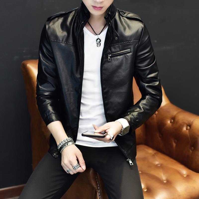 黄色皮衣 男士外套春季2017新款韩版青年修身大码衣服皮衣男夹克_推荐淘宝好看的黄色皮衣
