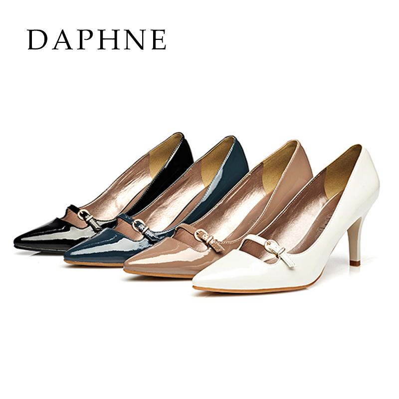 高跟单鞋 Daphne达芙妮春夏女鞋 细高跟尖头优雅皮带扣单鞋1015101078_推荐淘宝好看的女高跟单鞋