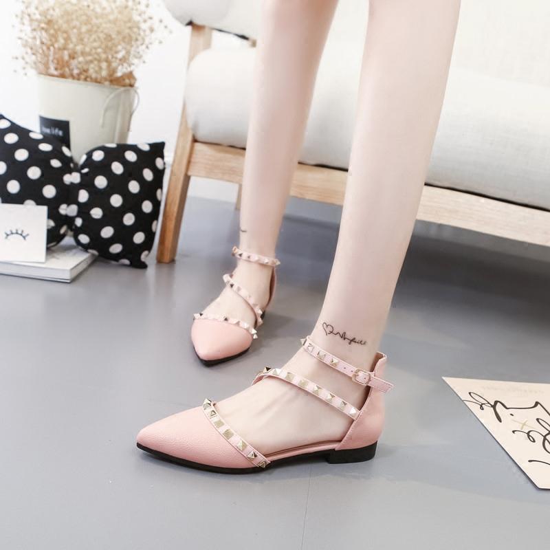 粉红色单鞋 春秋浅口平跟单鞋鞋女镂空尖头平底鞋韩版高跟白色黑色粉红色_推荐淘宝好看的粉红色单鞋