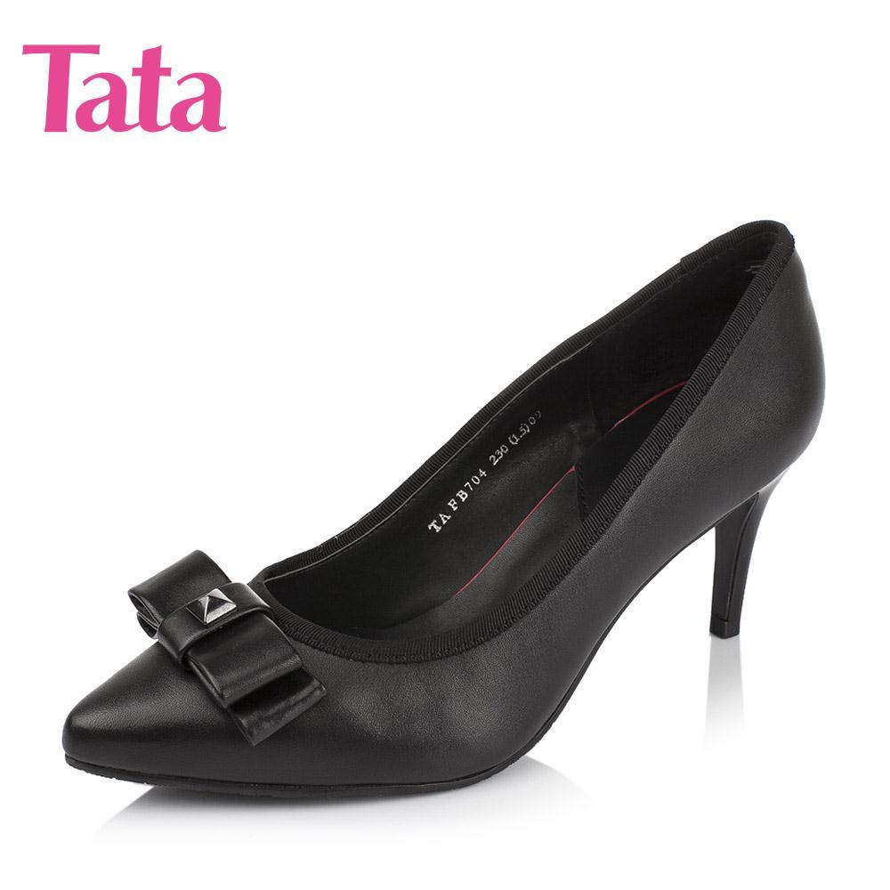 他她尖头鞋 Tata他她2016秋季专柜同款牛皮单鞋细跟尖头浅口女鞋FB704CQ6_推荐淘宝好看的他她尖头鞋