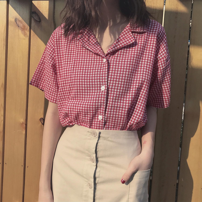 红色格子衬衫 文艺复古格子短袖衬衫女_推荐淘宝好看的女红色格子衬衫