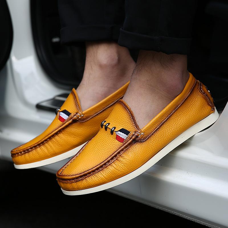黄色豆豆鞋 夏天驾车鞋男透气真皮豆豆鞋时尚黄色套脚鞋软底休闲皮鞋懒人鞋子_推荐淘宝好看的黄色豆豆鞋