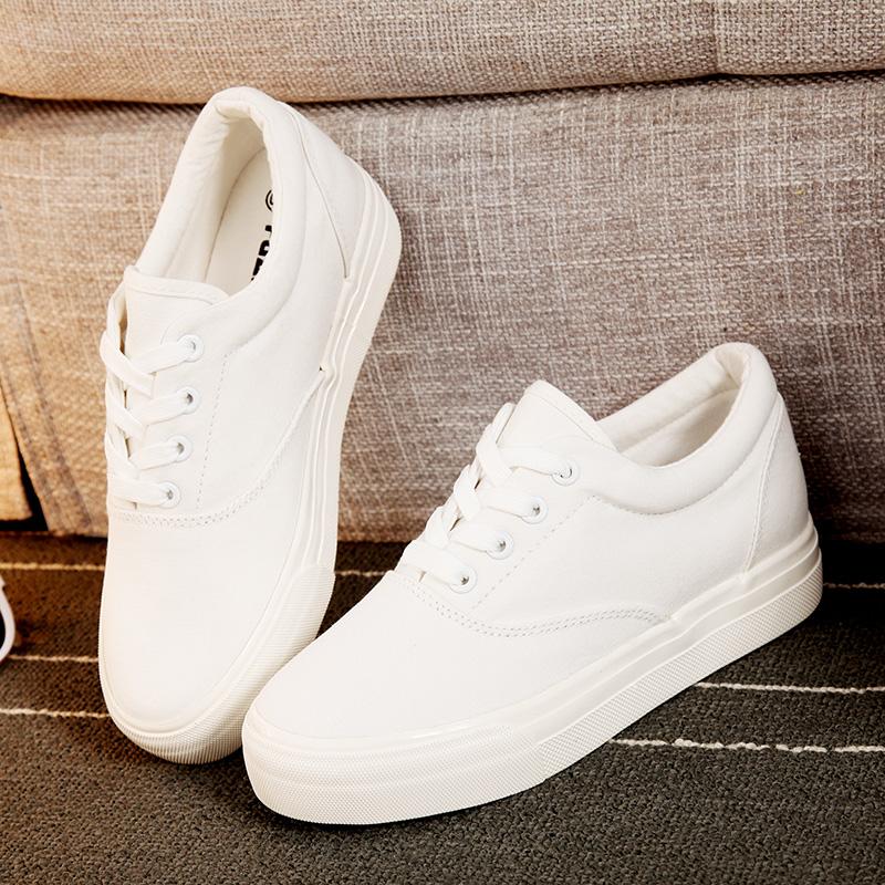 白色松糕鞋 环球文艺小白鞋松糕帆布鞋女厚底低帮休闲学生鞋韩版系带白色鞋子_推荐淘宝好看的白色松糕鞋
