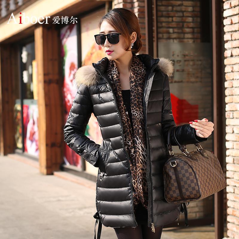 爱博尔羽绒服 正品爱博尔冬季修身新款韩版女士毛领通勤加厚外套羽绒服B12371_推荐淘宝好看的女爱博尔羽绒服