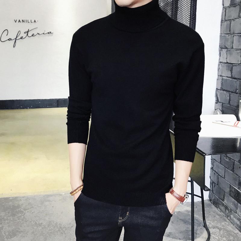 男士毛衣 男士修身加绒纯色高领毛衣加厚保暖针织衫紧身长袖韩版打底衫冬季_推荐淘宝好看的男士毛衣