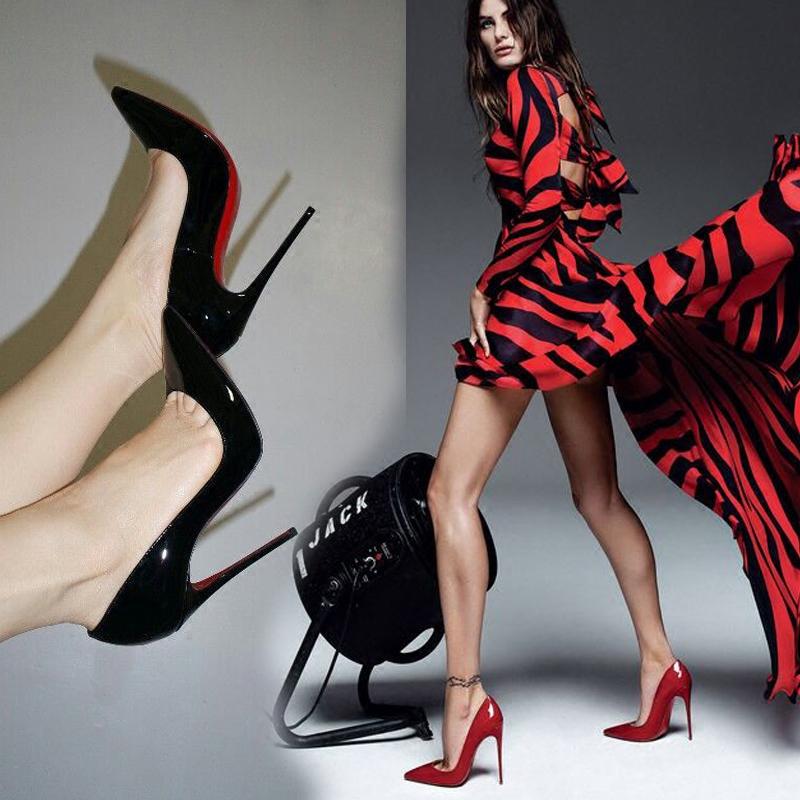 性感高跟鞋 秋高跟鞋女漆皮细跟性感尖头超高跟浅口单鞋裸色白色百搭女鞋_推荐淘宝好看的女性感高跟鞋