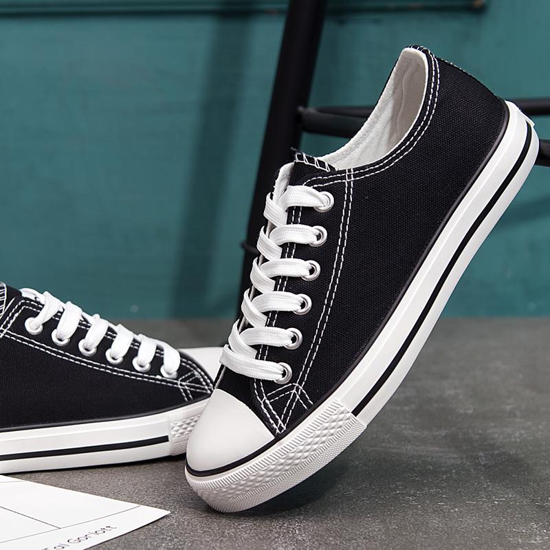 黑色帆布鞋 春季帆布鞋女韩版平底女鞋经典低帮系带女鞋休闲板鞋女黑色球鞋女_推荐淘宝好看的黑色帆布鞋