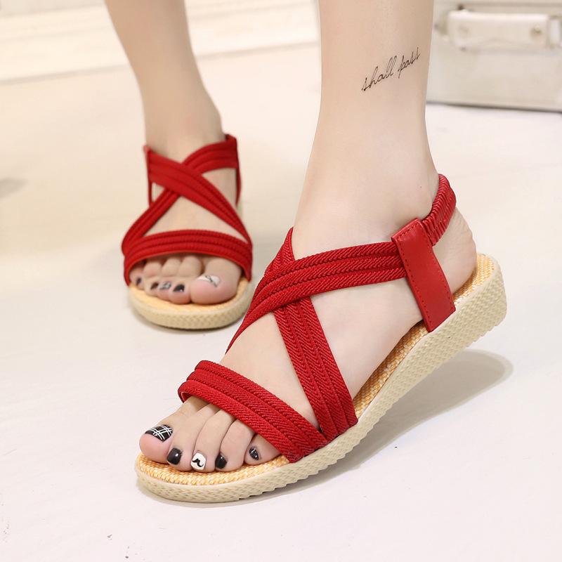 红色罗马鞋 纯色松紧带交叉罗马凉鞋女平底简约红色黑色舒适休闲大码女鞋4041_推荐淘宝好看的红色罗马鞋