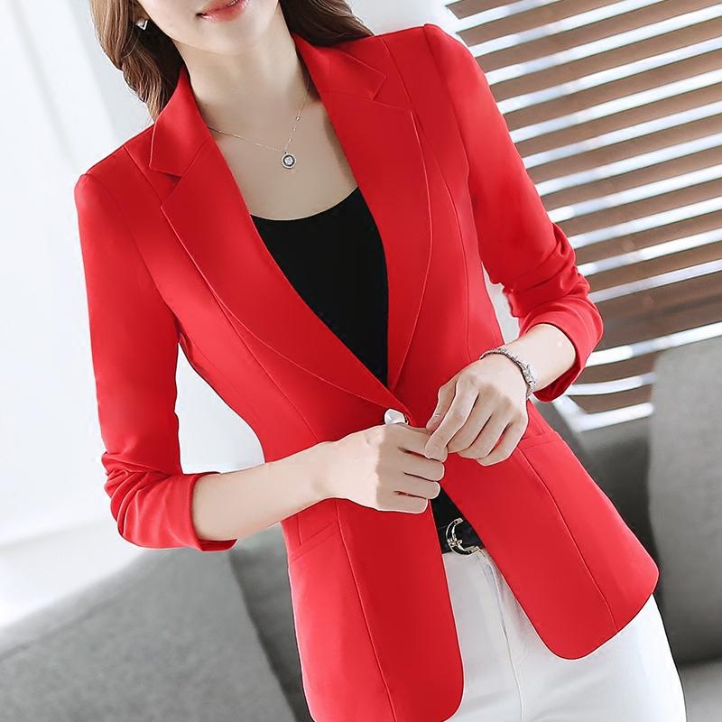 长袖小西装 短款小西装女外套中年西服长袖春秋新款红色修身一粒扣百搭上衣_推荐淘宝好看的女长袖小西装
