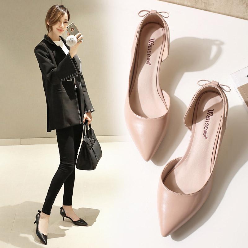 女性高跟鞋 女鞋春2017新款高跟鞋细跟单鞋甜美蝴蝶结婚鞋百搭工作鞋黑色皮鞋_推荐淘宝好看的女高跟鞋