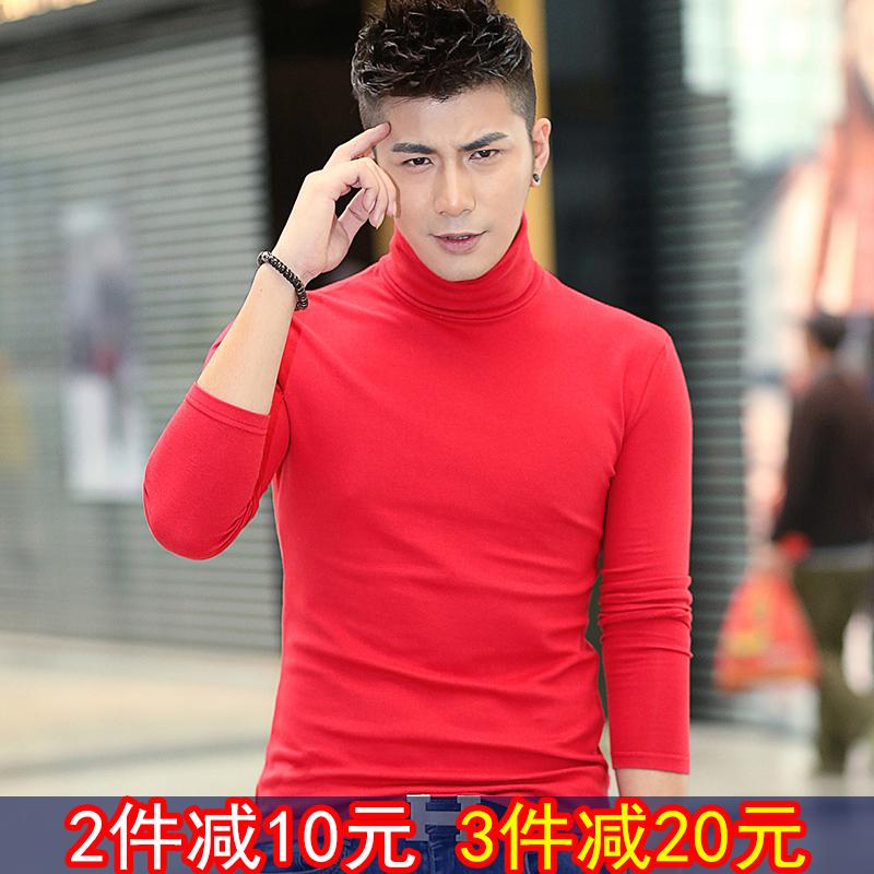 紫色T恤 原创秋装韩版男士大红色高领长袖t恤潮流修身休闲上衣打底衫体恤_推荐淘宝好看的紫色T恤