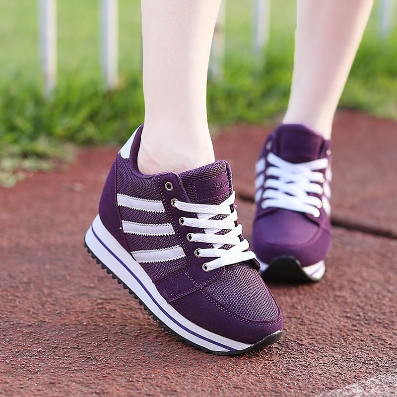 紫色坡跟鞋 秋季厚底坡跟女鞋小码运动鞋厚底跑步鞋紫色单鞋内增高8CM休闲鞋_推荐淘宝好看的紫色坡跟鞋
