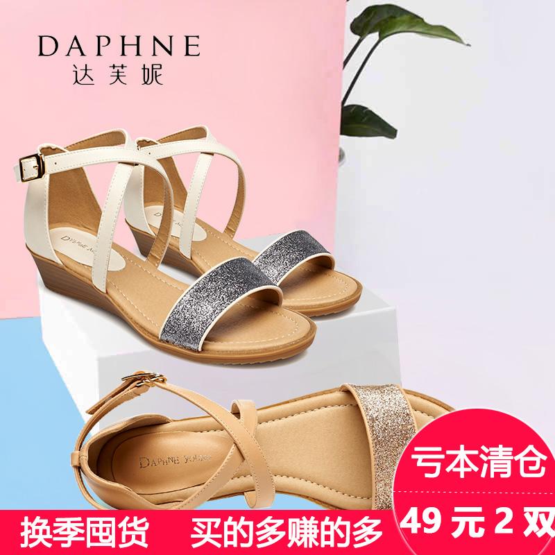 罗马女凉鞋 Daphne达芙妮凉鞋女夏罗马风 露趾中坡跟休闲时装 女凉鞋_推荐淘宝好看的女罗马凉鞋