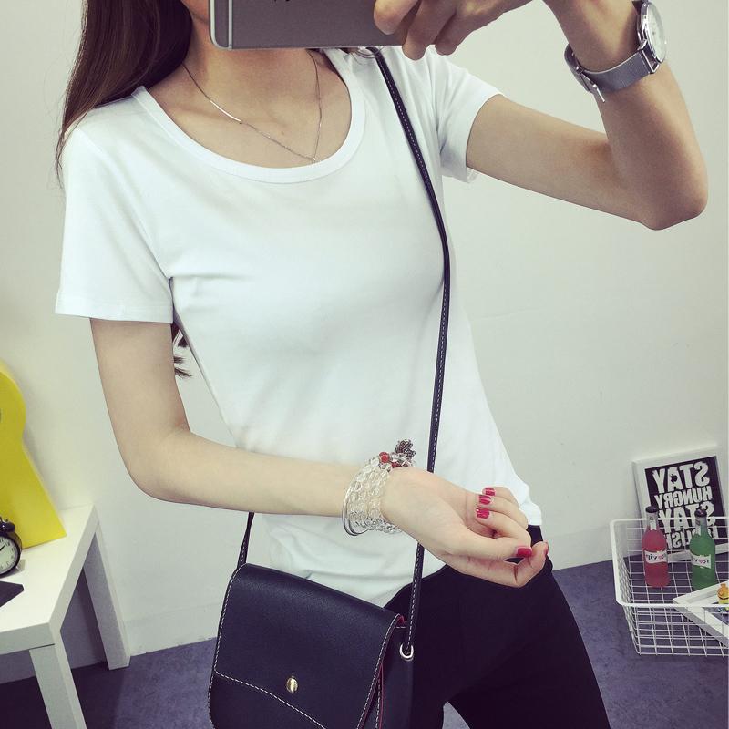 女士短袖t恤 纯白色短袖t恤女夏装学生半袖体恤韩版打底衫女百搭修身显瘦t桖_推荐淘宝好看的女女短袖t恤