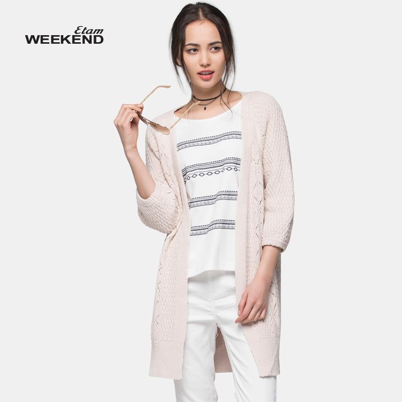 艾格女装 艾格 WEEKEND 时尚百搭纯色全开襟中长款毛衫女16021602980_推荐淘宝好看的艾格