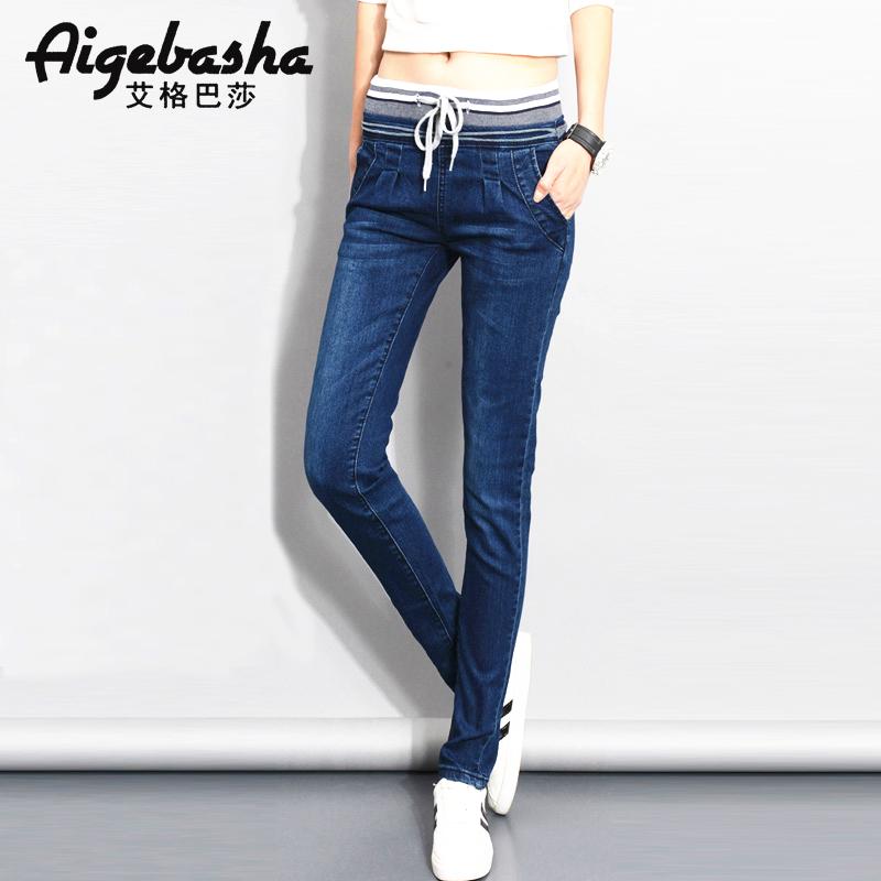 艾格服装 艾格巴莎 2016新款夏大码显瘦松紧腰小脚铅笔女装牛仔裤A8848_推荐淘宝好看的艾格女装
