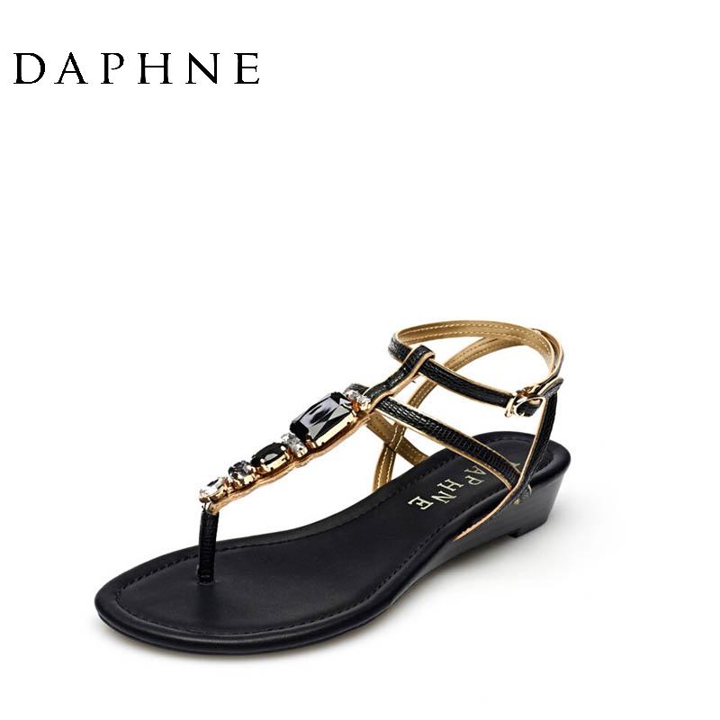 达芙妮罗马鞋 Daphne达芙妮夏季凉鞋罗马风水钻坡跟夹趾简约女凉鞋1015303107_推荐淘宝好看的达芙妮罗马鞋