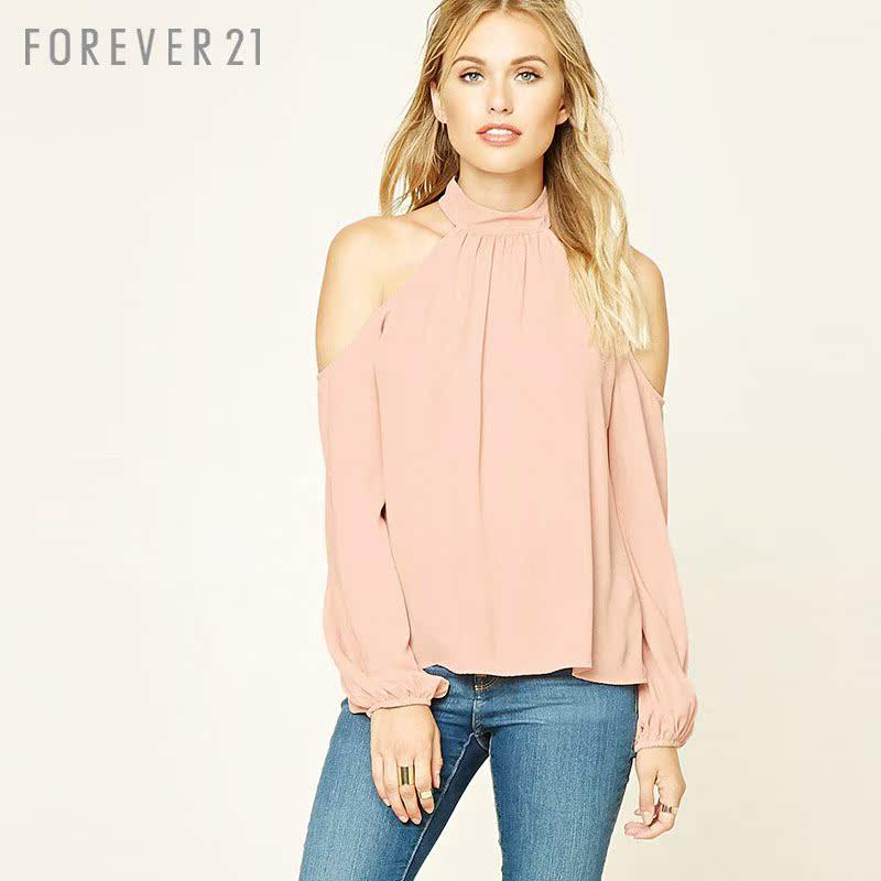 粉红色雪纺衫 优雅宽松小高领露肩长袖衫 Forever21蕾丝衫雪纺衫_推荐淘宝好看的粉红色雪纺衫