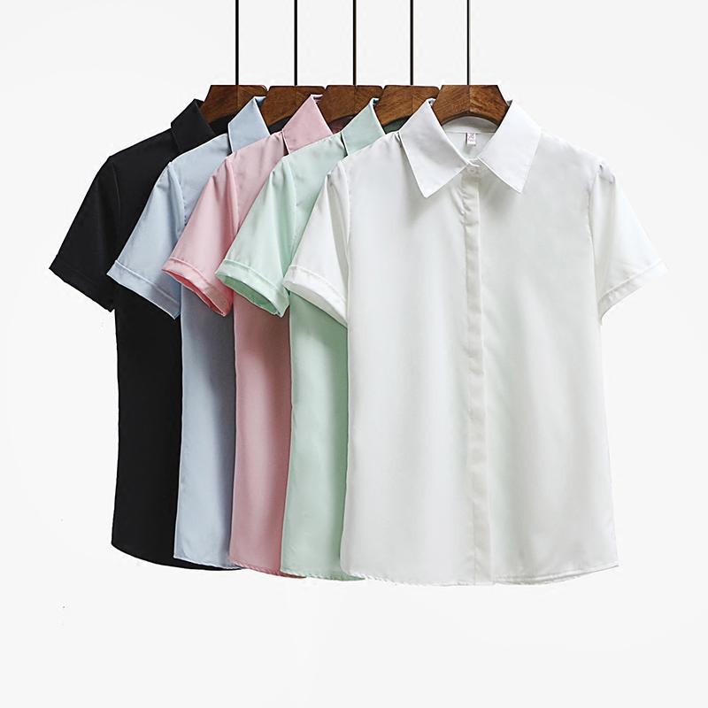 女士白色短袖衬衫 夏季学生白衬衫女短袖职业工作半袖正装宽松工装衬衣韩范女装OL寸_推荐淘宝好看的女白色短袖衬衫