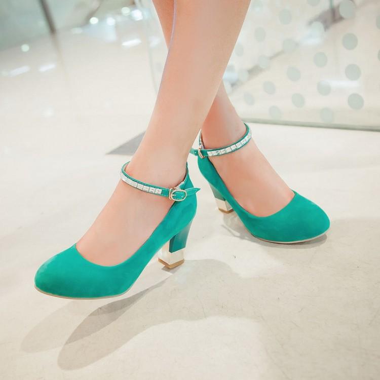 绿色厚底鞋 高跟鞋粗跟大码女单鞋40-41-43中跟厚底小码婚鞋新娘鞋绿色32 33_推荐淘宝好看的绿色厚底鞋