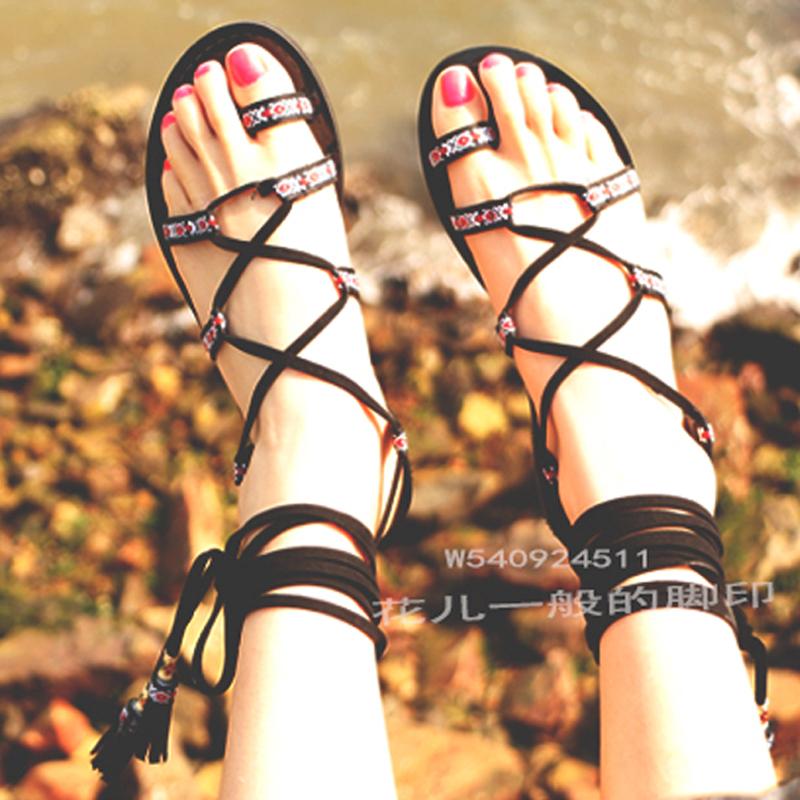 罗马平底鞋 民族风绑带凉鞋女夏2017新款罗马平底波西米亚沙滩鞋系带流苏凉鞋_推荐淘宝好看的女罗马平底鞋