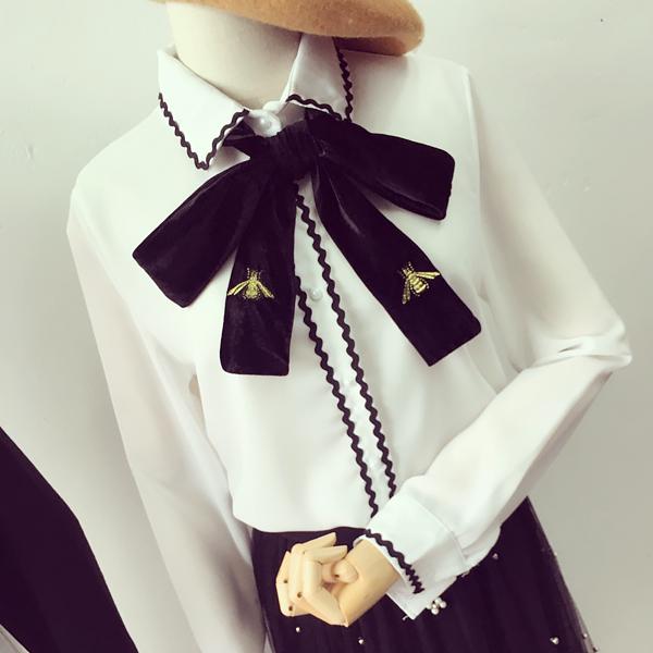 黑色雪纺衬衫 2017春季女装新款 韩国时尚淑女蝴蝶结刺绣黑白拼色雪纺衬衫_推荐淘宝好看的女黑色雪纺衬衫