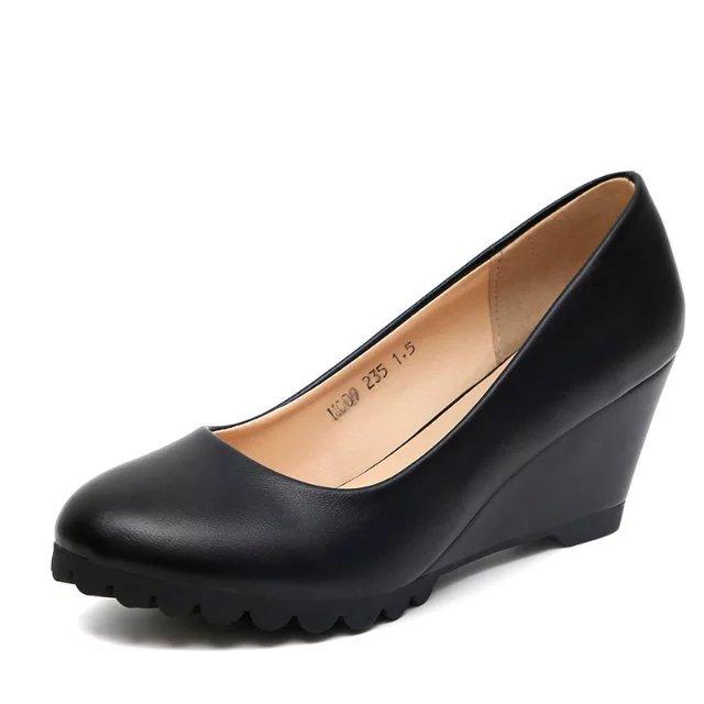 白色高跟鞋 2016春秋新款女单鞋圆头坡跟高跟职业上班皮鞋女黑白色工作鞋女鞋_推荐淘宝好看的白色高跟鞋