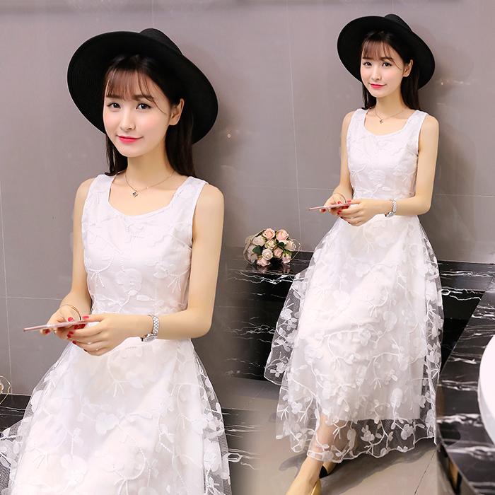 白色修身连衣裙 夏季小清新蕾丝雪纺连衣裙高腰修身显瘦中长款大摆A字背心长裙_推荐淘宝好看的白色修身连衣裙