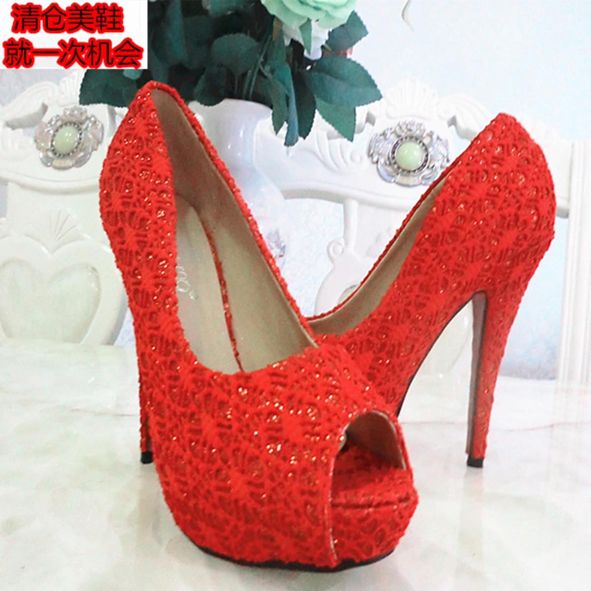 红色鱼嘴鞋 蕾丝鱼嘴14厘米红色高跟 断码清仓 亏本特价 女鞋凉鞋女_推荐淘宝好看的红色鱼嘴鞋