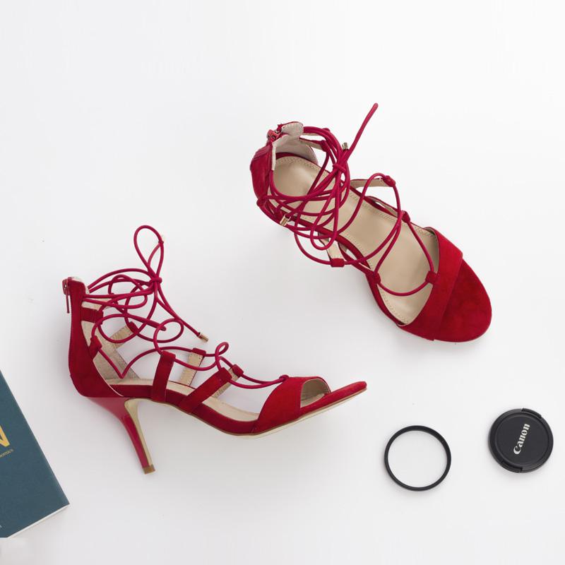 红色罗马鞋 欧美2016夏款交叉绑带露趾细跟凉鞋女高跟性感真皮羊皮罗马鞋红色_推荐淘宝好看的红色罗马鞋
