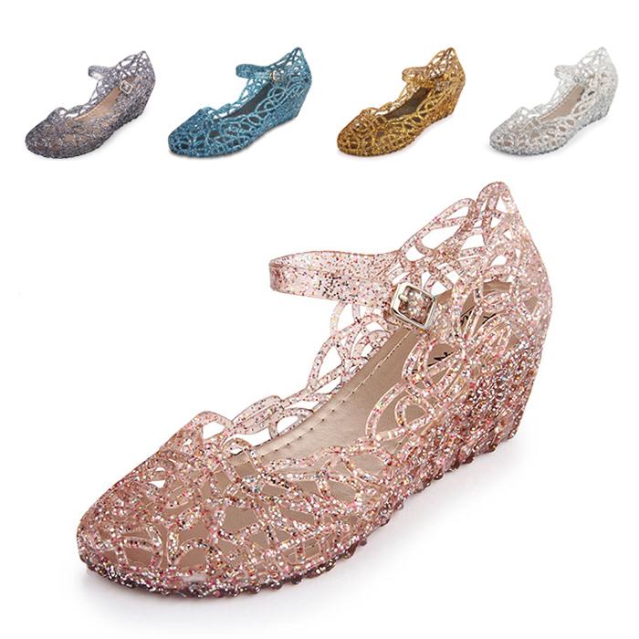 水晶坡跟鞋 鸟巢潮女士夏季水晶塑料凉鞋坡跟高跟罗马鞋批发沙滩女鞋广场舞_推荐淘宝好看的水晶坡跟鞋